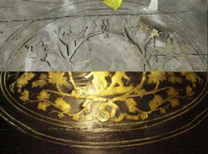restauro tavolo intarsiato in ottone